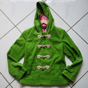 Tailor girls jacket coat lined green pink hearts